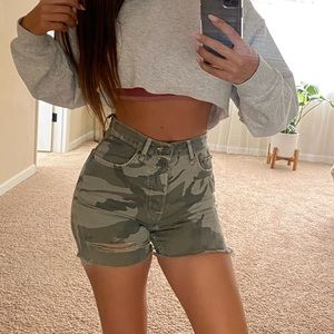 Denim camo distressed shorts